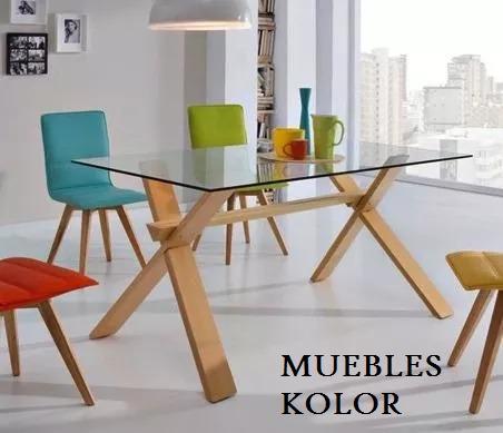 Mesa Comedor Vidrio Madera Cruzada 1,80 X 0,90 Muebles Kolor ...