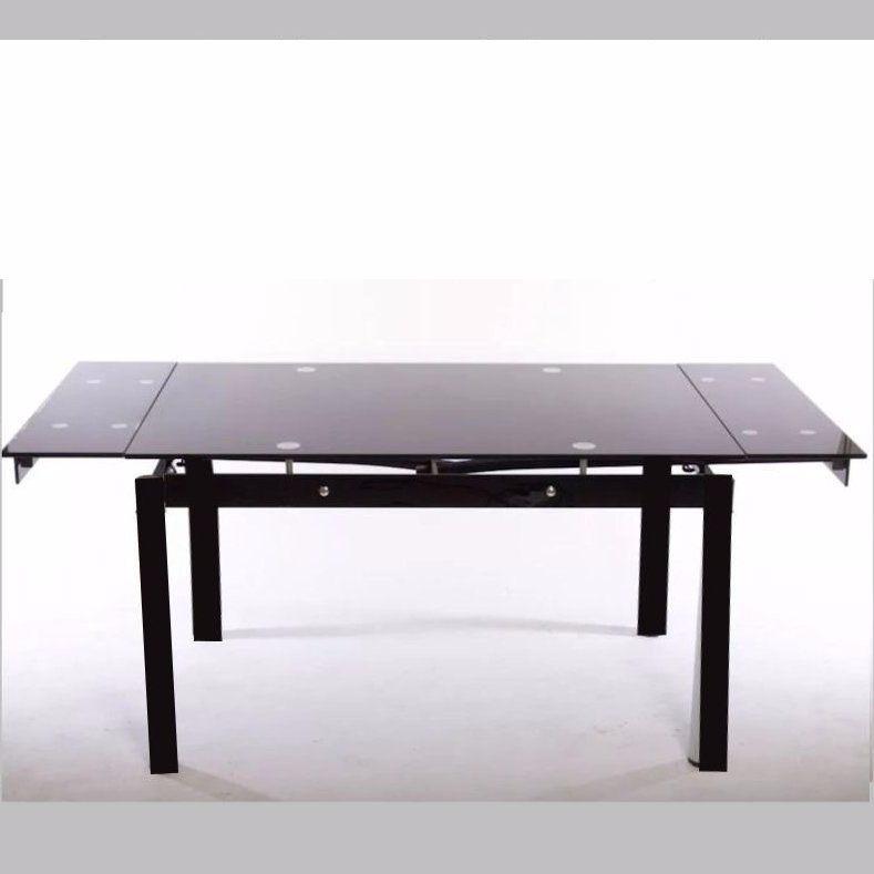 Mesa Comedor Vidrio Negro Templado Extensible 1 10mt A 1 70m