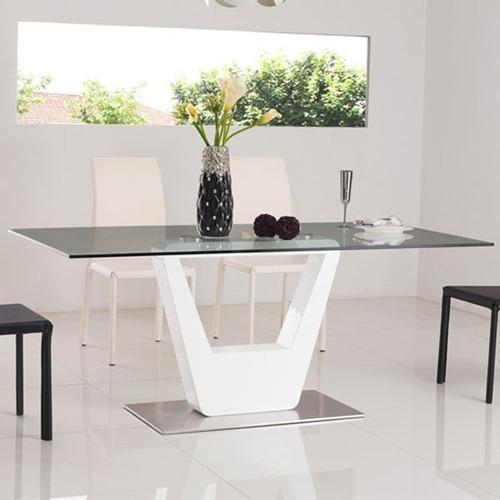 mesa comedor vidrio tapizada moderna linea premium nueva