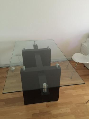 mesa comedor vidrio y wengue