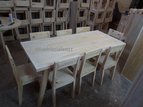 mesa comedor vintage escandinavo 180x80 + 8 sillas reforzada