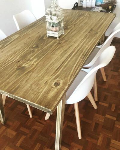 mesa comedor/cocina madera maciza, fabricación propia.