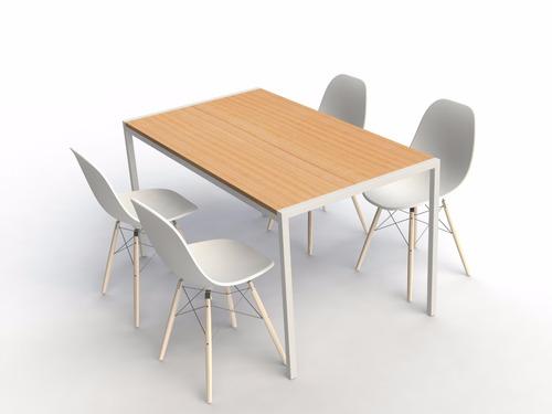mesa con 4 sillas eames - hierro y madera