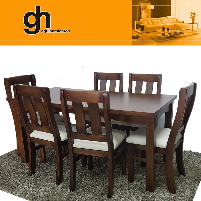 Mesa con 6 sillas macizas en madera maciza para comedor for Mesa madera maciza