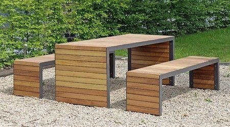 mesa con bancos moderna de 4 puesto de madera y hierro alta.
