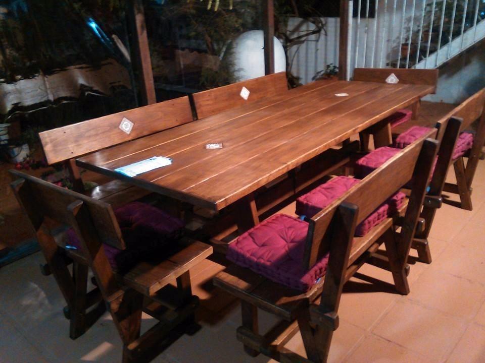 Mesa con bancos para barbacoa jard n comedor rustica - Mesa con bancos ...