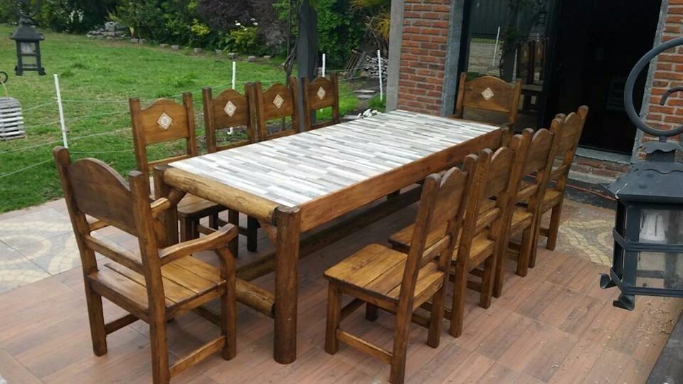 Mesa con bancos para barbacoa jard n comedor rustica for Bancos de jardin precios