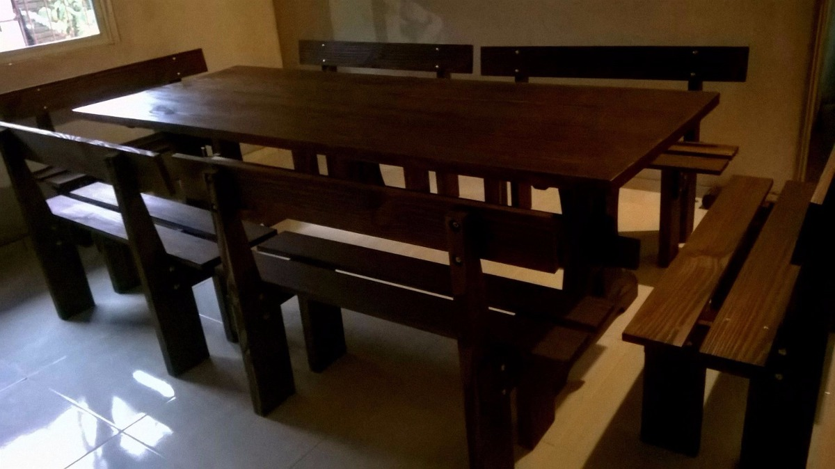 Mesa con bancos para barbacoa juego comedor - Bancos para comedor ...