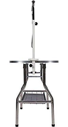 mesa con brazo/soga para mascotas acero inoxidable 96x55cm