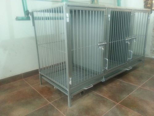 mesa con jaula triple para estetica canina con doble brazo