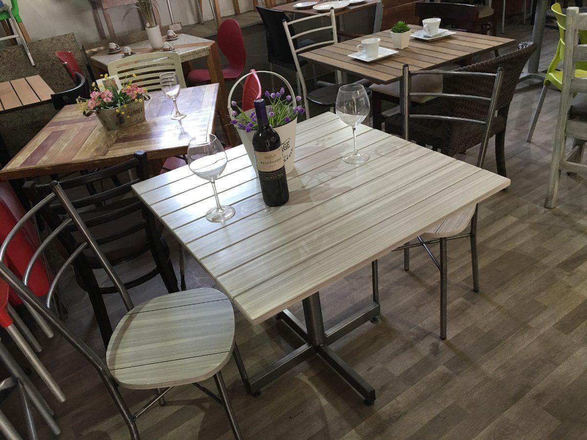 Mesa con sillas vintage para restaurantes cafeterias 2 en mercado libre for Mesas de madera para restaurante