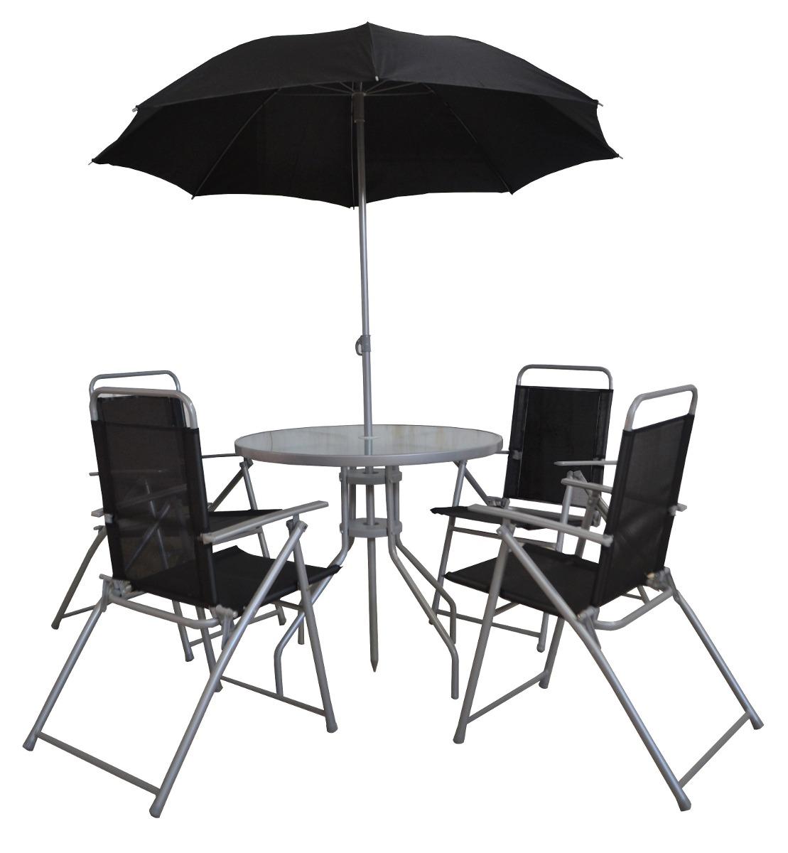 Mesa con sombrilla y sillas plegables color negro de acero for Mesas con sombrilla para exterior