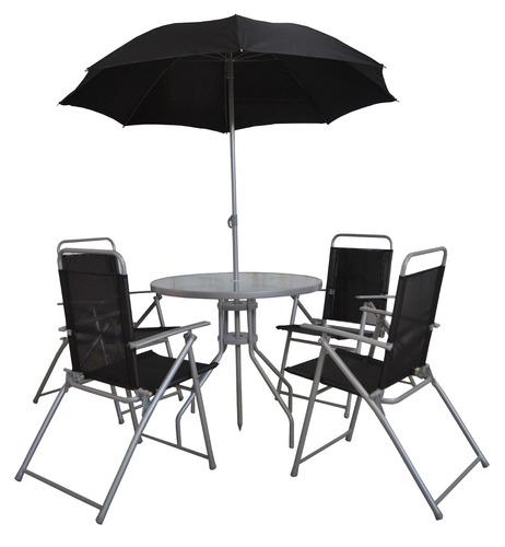 Mesa con sombrilla y sillas plegables color negro de acero for Comedor de jardin con sombrilla