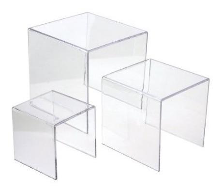 mesa conj 3 peças acrílico transparente