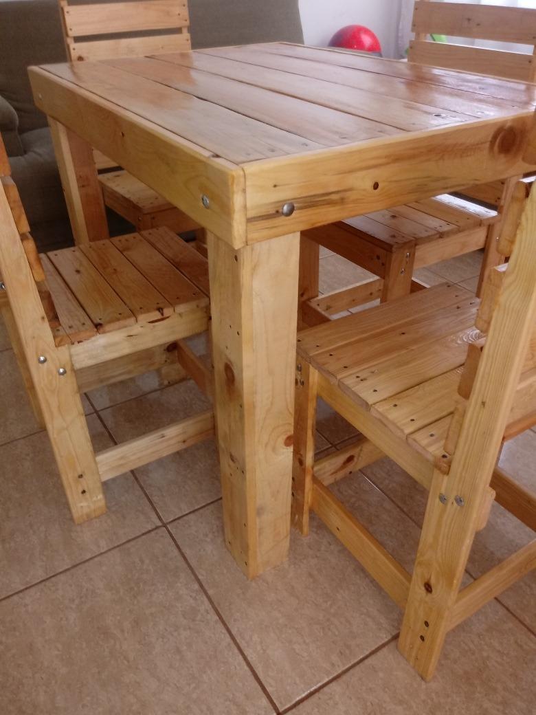 Mesa Conjunto C 4 Cadeiras Pinus Consulte Frete