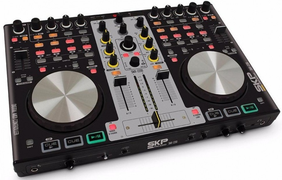 mesa controladora dj usb skp smx 2200 com virtual dj 4