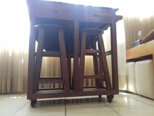 mesa convertible de madera con gavetas y bancos