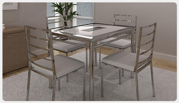 Mesa De Cozinha Em Aço Inoxidável E Cadeiras R 379000 Em