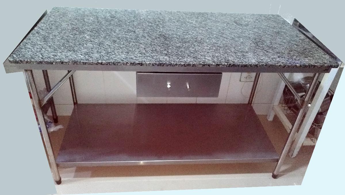 Mesa Cozinha Industrial Em Inox E Tampo Granito 154x74cm R 1500