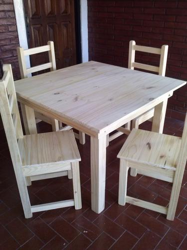 mesa cuadrada 1,00x1,00 y 4 sillas eco