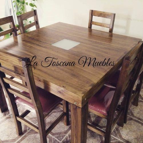 mesa cuadrada 1.30x1.30 con 8 sillas con asientos tapizados