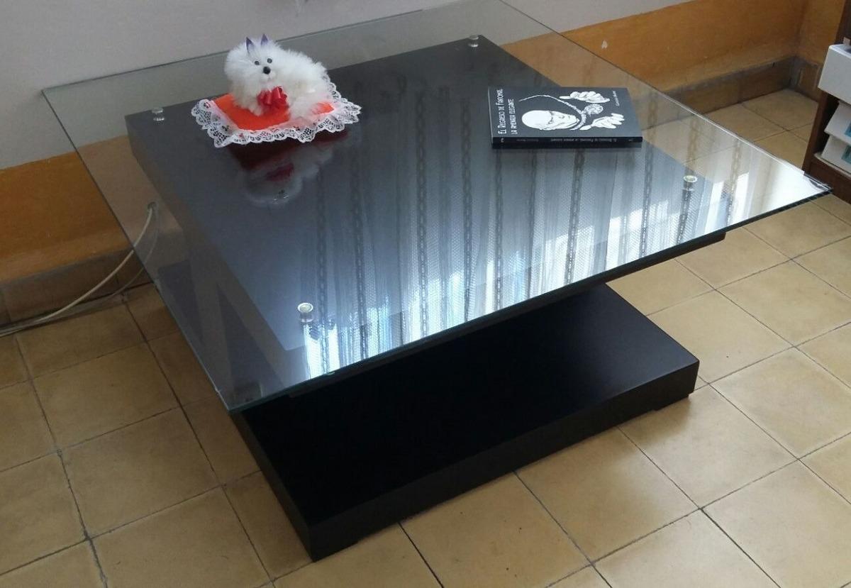 Mesa cuadrada de centro vidrio base de madera 2 450 for Bases para mesas de centro