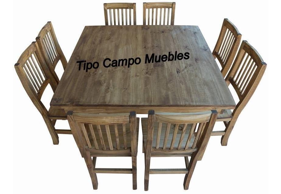 3e0fb240a70d Mesa Cuadrada, Mesa Campo, Mesa Pino 1.27 X 1.27 + 8 Sillas