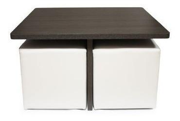 mesa cuadrada para 4 puff