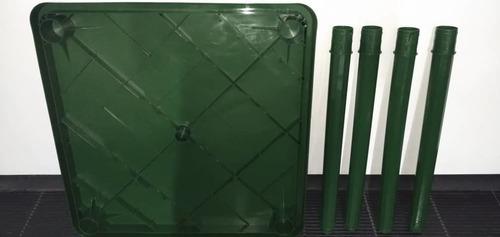 mesa cuadrada plástica manaplas 80x80 nueva. verde 20vrds