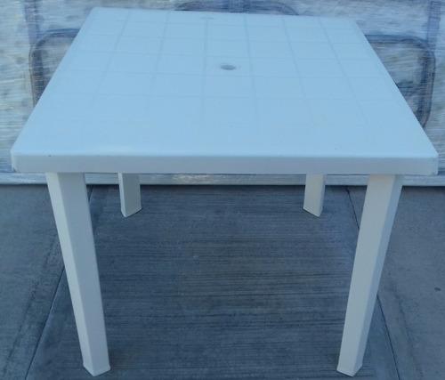 mesa cuadrada plastico 80 x 80 patas desmontables jardin