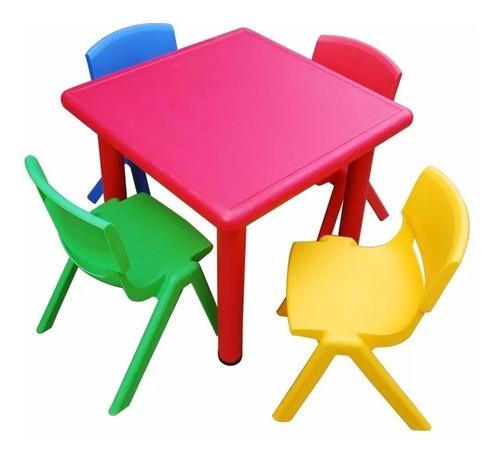 mesa cuadrada plastico y metal - niños escuela infantil