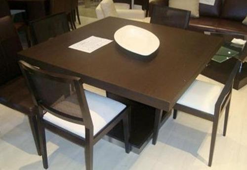 mesa cubo laqueada comedor base central madera 120 x 120 cm.