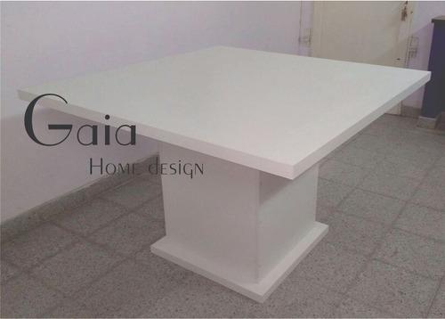 mesa cubo pata central comedor melamina blanca 120 x 120 cm.