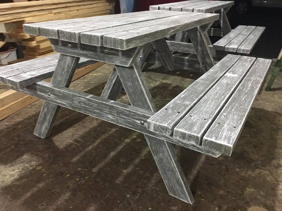 Mesa d madera picnic para exterior vintage y bancas - Mesas de madera para exterior ...