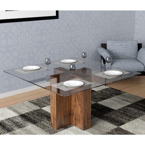 mesa dalla costa tm25 com vidro e espaço para 8 cadeiras nob