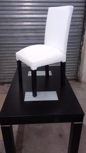 mesa de 1,60 x 0,80 lustre negro con 6 sillas vestidas