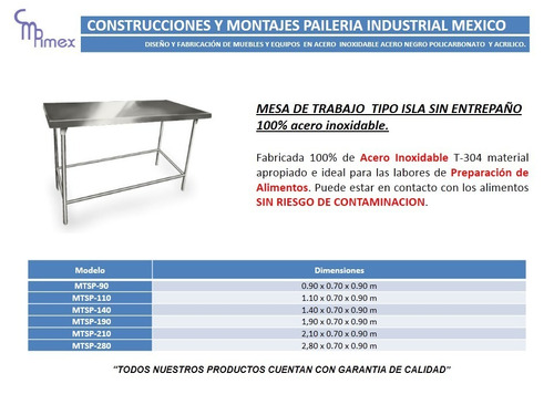 mesa de acero inoxidable