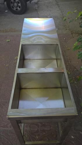 mesa  de acero inoxidable con bacha doble 40x40x30