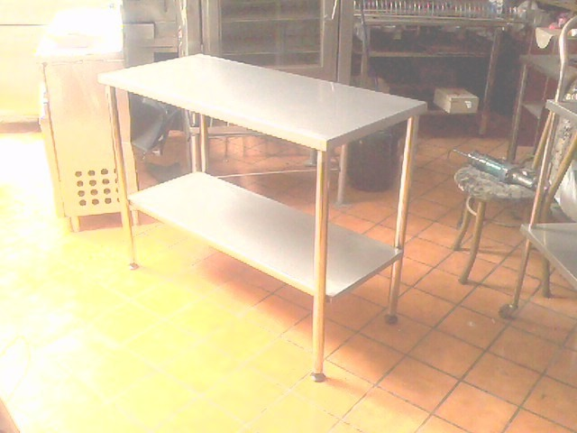 Mesa de acero inoxidable para restaurantes de 2 niveles - Mesa acero inoxidable para cocina ...