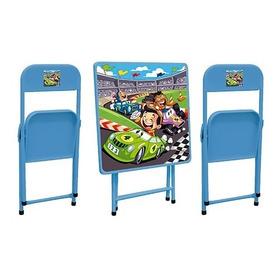Mesa De Aco Sapeca Com 2 Cadeiras Azul Carro - Metalmix
