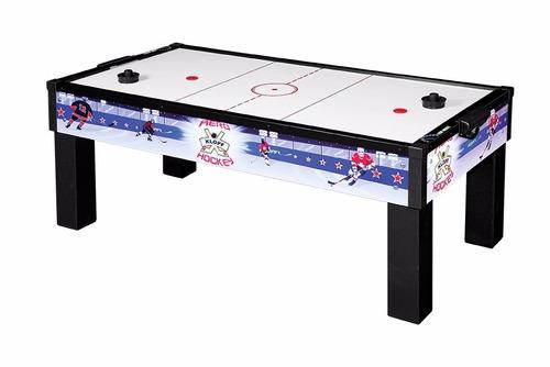 mesa de aero hockey ilustrada com kit completo para jogar