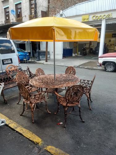 mesa de aluminio 6 sillas con sombrilla