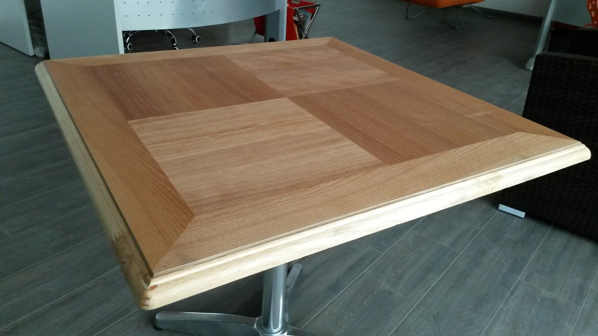 Mesa de aluminio c cubierta de madera teka 80x80cm bares for Mesas de madera para bar