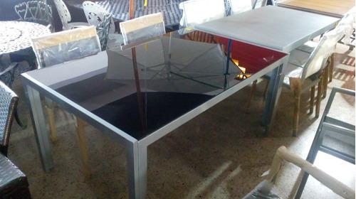 mesa de aluminio con tapa de vidrio viena - 1.60 x 1.00m