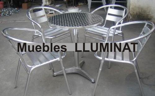 Mesa de aluminio o sillas bar restaurant cafe negocio for Mesas y sillas de jardin de aluminio