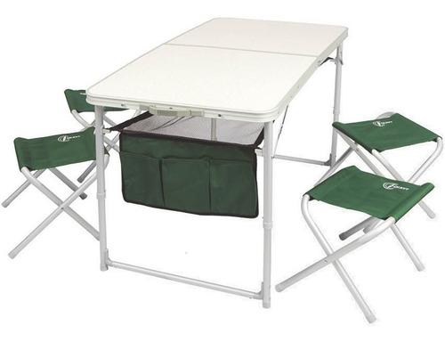 mesa de aluminio plegable ckayt 120x60x70 con 4 banquitos