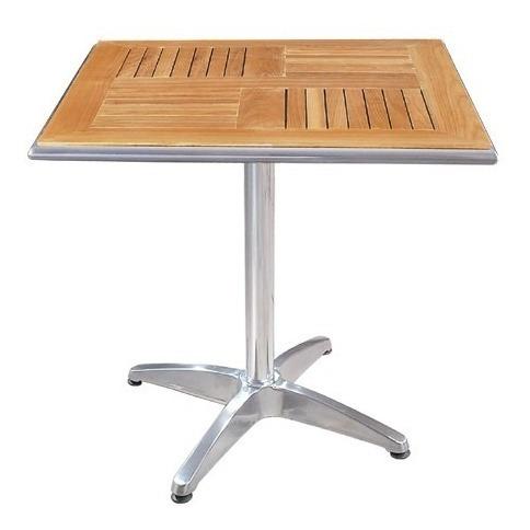 mesa de aluminio y teca 70x70cm bares ya-1040