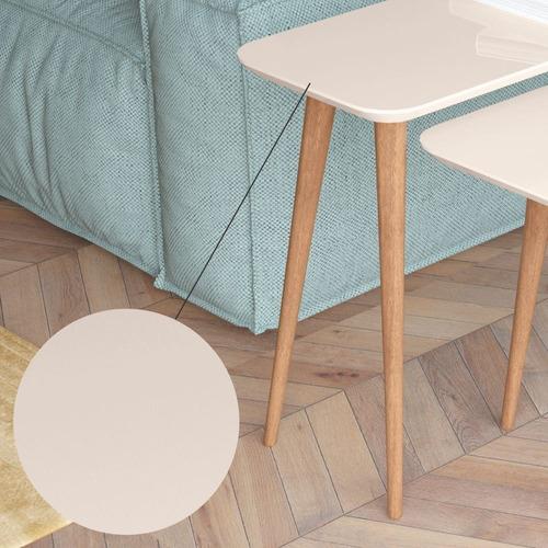 mesa de apoio lateral quartzo off white pés palito
