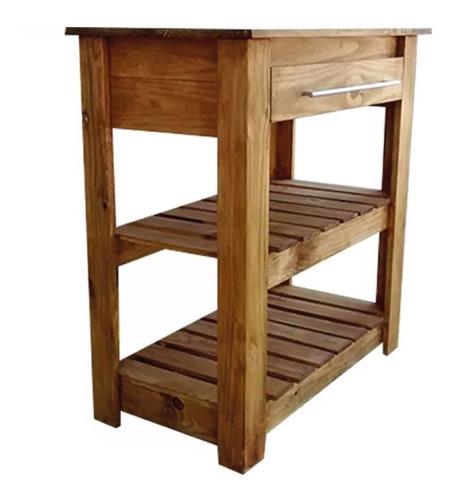 mesa de arrime 80 desayunador campo madera pino doble deck