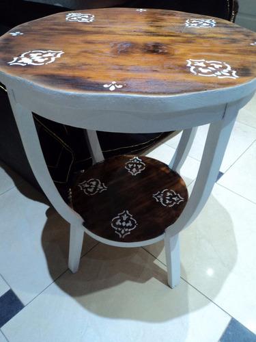 mesa de arrime antigua. francesa. shabby chic. intervenida